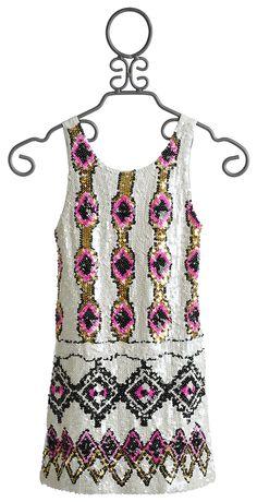 Flowers By Zoe Sequin Tween dress in Ivory $114.00