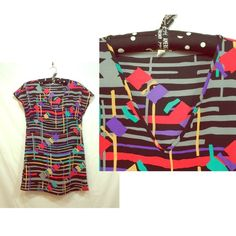 Colorful abstract print dress - Silence + Noise Colorful abstract print v-neck dress. 100% polyester. Urban Outfitters Dresses