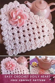 How To Easy Crochet Doily Heart Free Pattern Center & wie einfach häkeldeckchen herz free pattern center & comment faire pour crochet facile napperon coeur coeur gratuit pattern center Crochet Doily Patterns, Crochet Doilies, Knitting Patterns Free, Crochet Flowers, Crochet Stitches, Free Pattern, Doilies Crafts, Crochet Hearts, Pattern Ideas