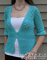Crochet Chloe Cardigan Sweater Top - Crocheted by Donna Wolfe from Naztazia