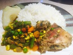 Coconut rice with chicken and vegetable