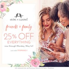 Enter FFSPRING17 at checkout to receive 25% OFF your #chloeandisabel order – it's the ultimate chance to shop new arrivals, get gifts for Mother's Day + refresh that jewelry box! Only happens twice a year! #springsale VALID APRIL 20 - MAY 1, 2017