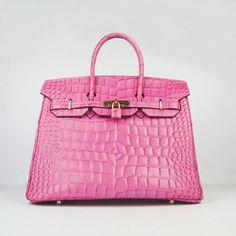 Hermes Birkin,Hermes Birkin 35CM Max Crocodile Veins Leather Bag Peach 6089-$278