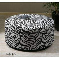 Zea Zebra Print Upholstered Storage Ottoman - treasurecombers