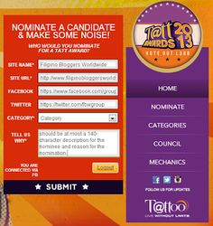 Pls nominate this ever helpful group as Best Community of Bloggers at the http://www.tattawards2013.com/    SITE NAME- Filipino Bloggers Worldwide  SITE URL- http://www.filipinobloggersworldwide.com/  FACEBOOK- https://www.facebook.com/groups/filblogatw/  TWITTER- https://twitter.com/fbwgroup  CATEGORY- new category>type in > BEST COMMUNITY OF BLOGGERS  TELL US WHY -   http://www.filipinobloggersworldwide.com/2013/05/best-community-of-bloggers-nomination.html