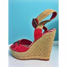 ⏰WEEKEND SALE⏰ Nautical Wedge Heels Red braided wedges with buckles. Nautical vibe. Size 7. Great condition. ‼️️Available for a limited time‼️ Shoes Heels