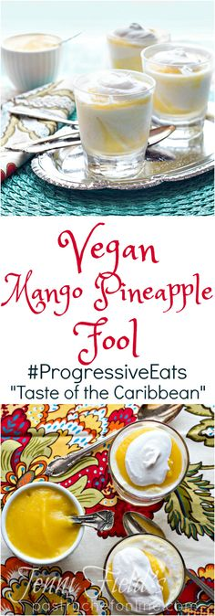 Vegan mango pineapple fool is a light and tropical dessert that will make you feel like you're in the Caribbean: the perfect dessert for a Caribbean feast! Tropical Desserts, Summer Desserts, Vegan Dessert Recipes, Vegan Sweets, Fool Recipe, Strawberry Mousse, Molten Lava Cakes, Muffins, Valentine Desserts