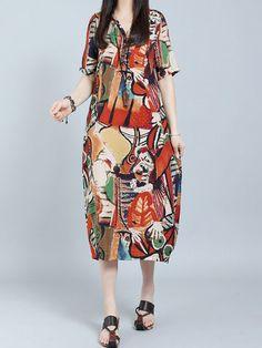 O-NEWE Elegant V-neck Short Sleeves Printed Dresses For Women