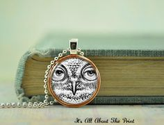 Penny Art Pendant Owl Face Handmade by Its by ItsAllAboutThePrint, $12.00
