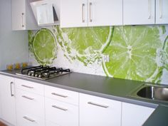 photo wallpaperl in kitchen instead of tiles / wall mural #mural #wallpaper #photowallpaper