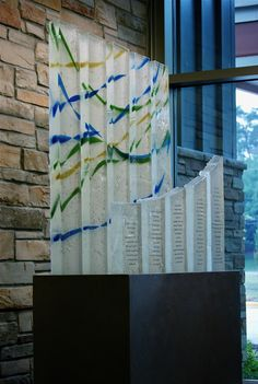 Beltsville-Laurel - Donor Recognition Sculpture - Fused glass columns with a custom made steel base - 7' high x 6' wide