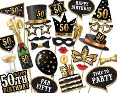 50th birthday Photo Booth props - Instant Download printable PDF. Fiftieth birthday party Photo Booth supplies. Fifty Today - 0155