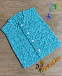 No photo description available. Baby Knitting Patterns, Knitting Stitches, Knitted Baby Cardigan, Vest Pattern, Baby Store, Easy Knitting, Baby Sweaters, Baby Design, Baby Hats