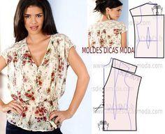 A proposta que publico hoje do molde de blusa com flores foi sugerida já há algum tempo por uma seguidora do hemisfério sul.