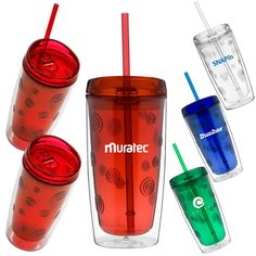 293abfa82fa 16 oz. Double wall acrylic tumbler, Exclusive patterned translucent jewel  tone inner liner and clear outer wall, Lid with thumb-slide lid closure, ...