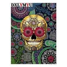This unique and unusual sugar skull artwork features vibrant red and green tones. the pasley skull art is by skull artist Christopher Beikmann Candy Skulls, Sugar Skulls, Sugar Skull Artwork, Mexican Skulls, Mexican Folk Art, La Muerte Tattoo, Los Muertos Tattoo, Modern Canvas Art, Sugar Skull Face