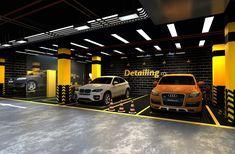 Car care center design 2019 on Behance Showroom Interior Design, Garage Interior, Bar Design, Design Studio, Automotive Shops, Car Workshop, Car Washer, Cutting Edge Stencils, 3d Modelle