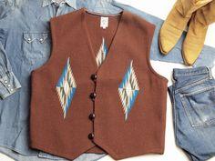 【限定品ビッグサイズ&カラー】オルテガ 手織りチマヨ・ベスト 83RG-4809 サイズ48 ミディアムブラウン