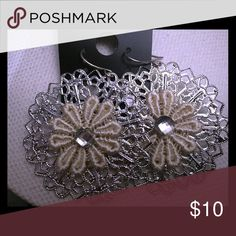 "Silver floral earring Silver earrings, 1"" drop. Simple and chic with a small rhinestone in the center. Enhance a spring look or holiday glam! Accessories"