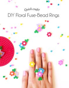 Quick Craft - DIY Floral Fuse-Bead Rings! - Paper and Pin