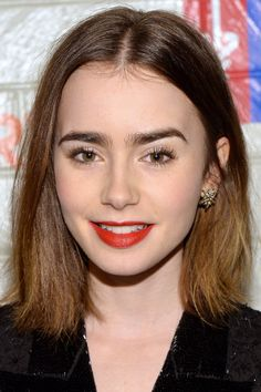 heavy brow & shoulder length lob. [lily collins]