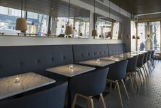 The  is located in the heart of Helsinki by the Esplanadi park. Bronda brings the vibrancy of a contemporary Mediterranean restaurant to an interesting street level space and creates a new urban spot with a relaxed atmosphere. The restaurant interior has three main spaces.