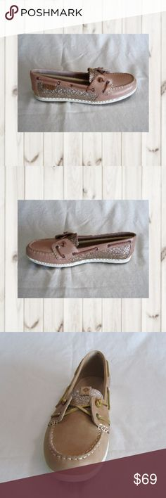 Sperry Top-Sider Coil Ivy Linen Sparkle Leather Sperry Top Sider, Coil Ivy Linen, Women's Size 10M, Linen (tan), Boat Shoe. Leather - padded insole. NWB.  (CL-PM,EB) Sperry Shoes Flats & Loafers