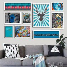 Composição de Quadros para decoração tons de Azul com 09 itens - Blue Wall