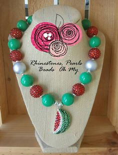 Chunky Bling Watermelon Necklace Bubble Gum Beads Summer