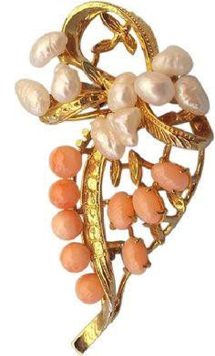 Natural Coral and Baroque Pearl Pin, Asian 1950s