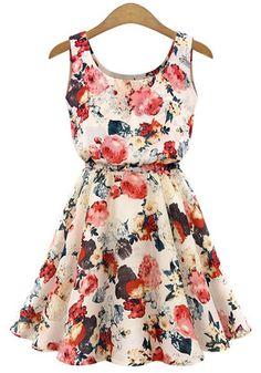 Apricot Floral Print Draped Round Neck Sleeveless Chiffon Mini Dress
