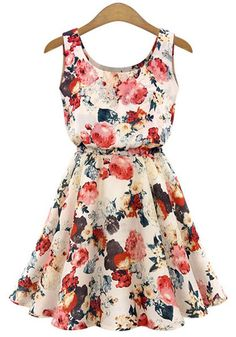 Apricot Floral Print Sleeveless Chiffon Dress