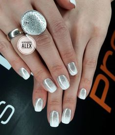 Glossy Silver Ombre Nails