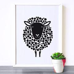 Nursery art, Kids room art print, monochrome print, black and white nursery poster, sheep print, kids room poster