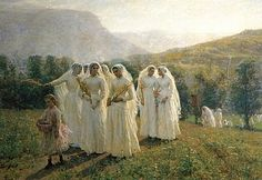 "Jules Breton: ""Girls going to the procession"", 1890, oil on canvas, Munson-Williams-Proctor Arts Institute, Utica, New York, United States of America"