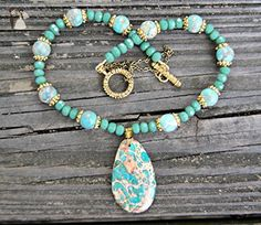 Green Aqua Terra Jasper and Matte Green Crystal Necklace - Wedding nacklaces (*Amazon Partner-Link)
