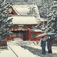 Snow at Hiei Shrine, 1931 by Kawase Hasui