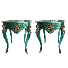 Pair of Side Tables by Tony Duquette  c. 1980's, rich green faux malachite finish.