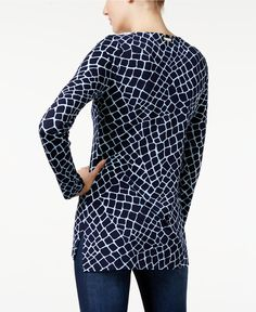 MICHAEL Michael Kors Printed Lace-Up Tunic - Tops - Women - Macy's