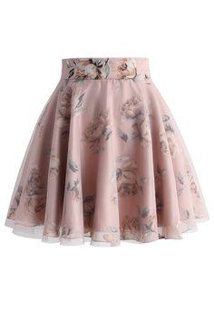 Pink Roses Mesh Skater Skirt