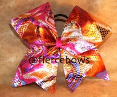 Pink Metallic Swirl Cheer Bow on Etsy, $10.00