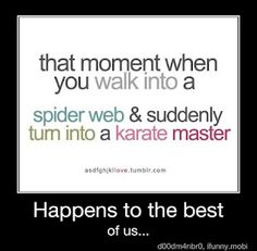 That moment when you walk into a spider web and suddenly turn into a karate master.