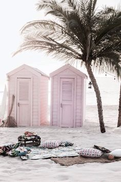 iPhone and Android Wallpapers: Pastel Beach Huts Wallpaper for iPhone and Android