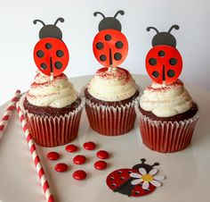 Ladybug Cupcake Toppers - Cupcake Toppers - Red Foiled Cupcake Toppers - Red Ladybugs - Cupcakes - Ladybug Party Decor