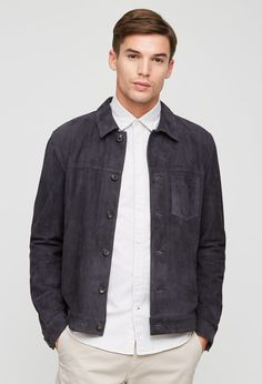 Jigsaw - Unlined Suede Trucker Jacket