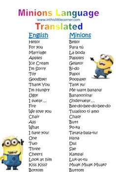 LOL....I am such a #minion fan...How to speak minion  @Peter Thomas Dhooghe