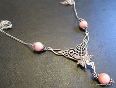 Signed INDIA 925 Vintage Necklace Pendant Sterling Silver 925 Angel Fairy Pink C