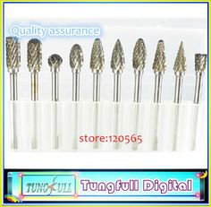 """Find More Milling Cutter Information about New 10pc 1/8"""" Shank Tungsten Carbide Milling Cutter Rotary Tool Burr Double Diamond Cut Rotary Dremel Tools Electric Grinding,High Quality tool,China tool web Suppliers, Cheap tooled faux leather fabric from Tungfull Digital Technology Co.,Ltd on Aliexpress.com"""