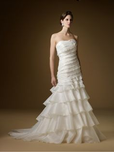 Trumpet / Mermaid Strapless Court Train Organza Wedding Dresses 99802013