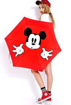 Mickey Surprise Travel Umbrella | FOREVER21 Can't rain on our #Mickey parade #MickeyByF21 #Accessories #Umbrella